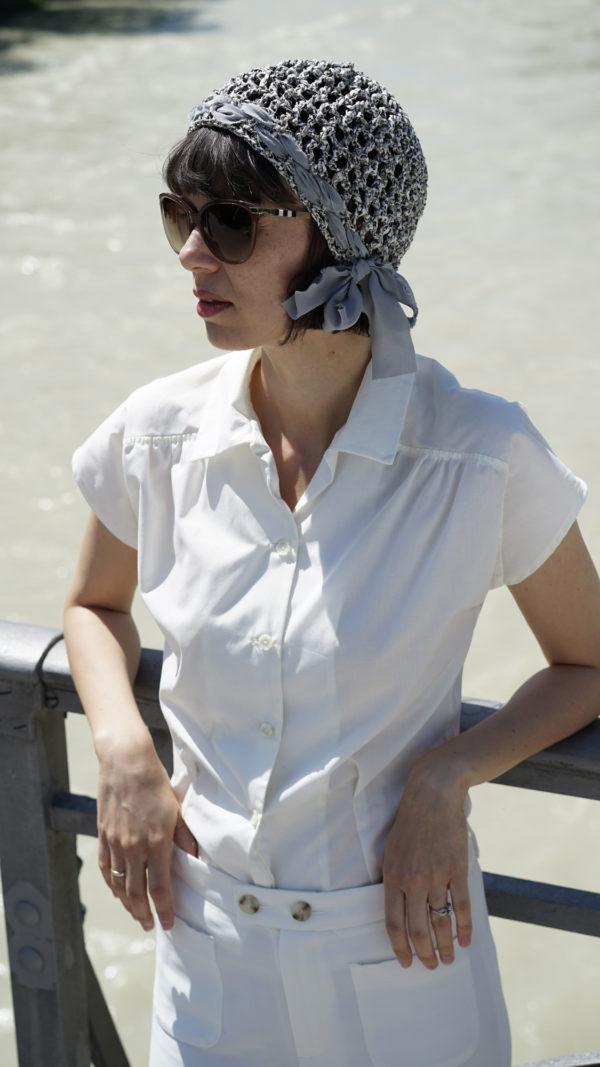 """Marie. Häkelmütze aus Baumwollbändchen. Ideal für einen """"bad hair day""""."""